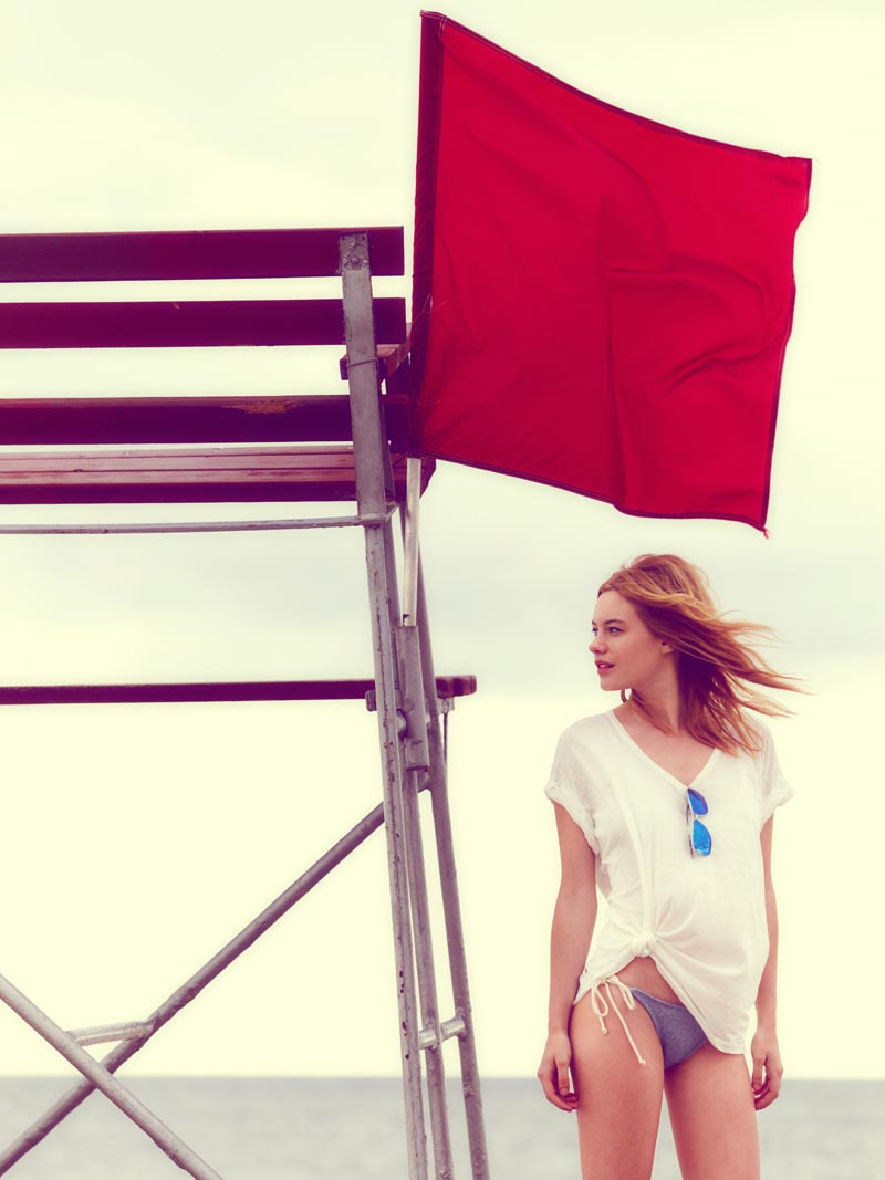 Camille Rowe Sports Americana Style for Free People's June Lookbook