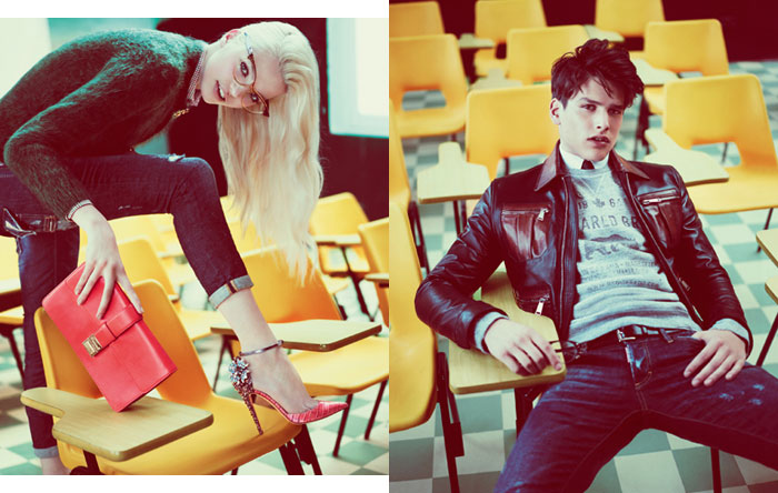 Daphne Groeneveld, Bette Franke & Frida Aasen Go Back to School for DSquared2's Fall 2012 Campaign by Mert & Marcus
