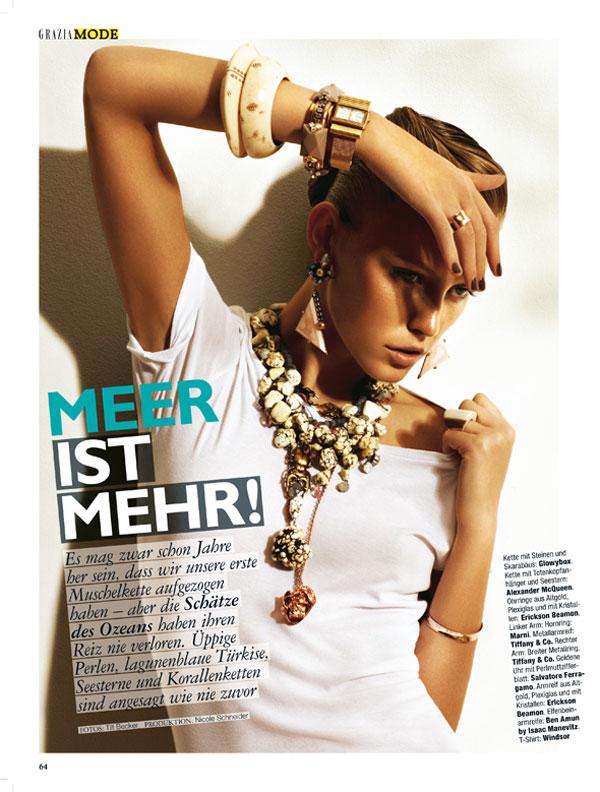 Lucia Jonova Wears Oceanic Jewelry Looks for Grazia Germany