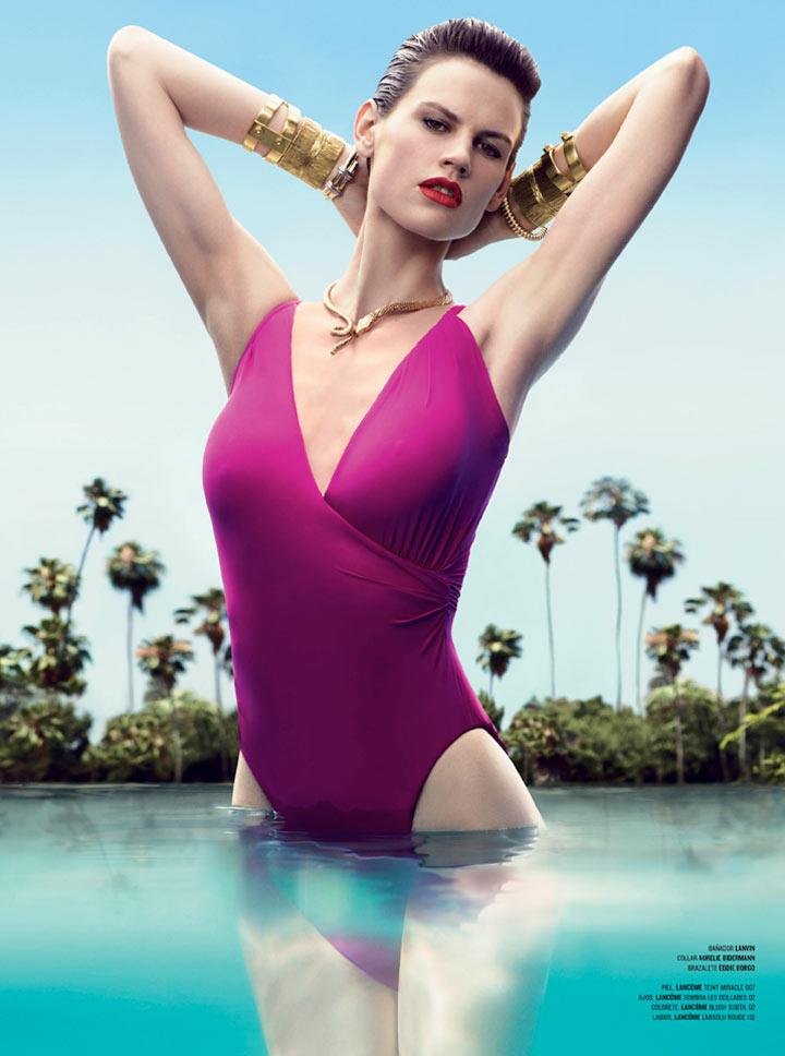Saskia de Brauw Sizzles in Swimwear for V Spain's Summer Cover Shoot by Nathaniel Goldberg