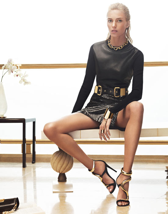 Anja Rubik is Back in Black for Giuseppe Zanotti's Fall 2012 Campaign by Karim Sadli