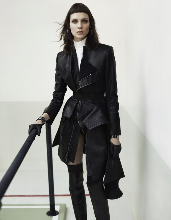 Kati Nescher Dons Leather Looks for Vogue China's August 2012 Cover Shoot