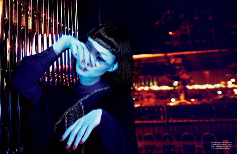 Miao Bin Si Embraces Dark Glamour for Txema Yeste's Numéro China Shoot