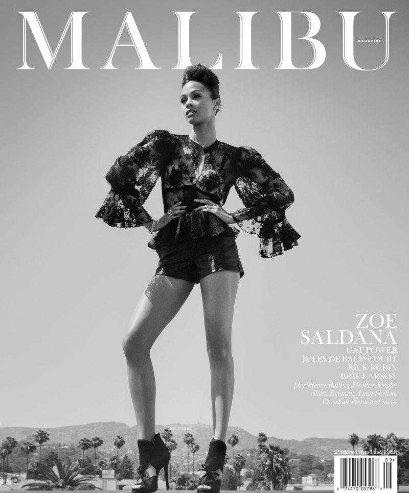Zoe Saldana Smolders in the September Cover Story of Malibu Magazine by Mark Squires