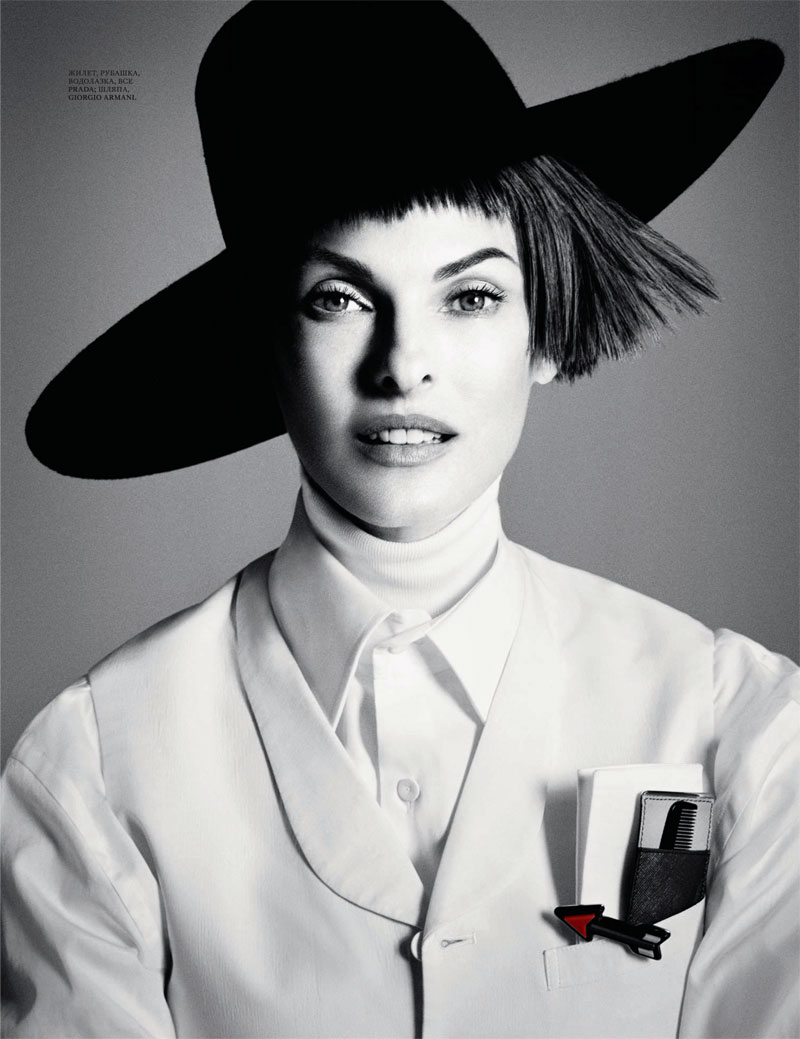 Linda Evangelista Dons Menswear Looks for Interview Russia's September Cover Story