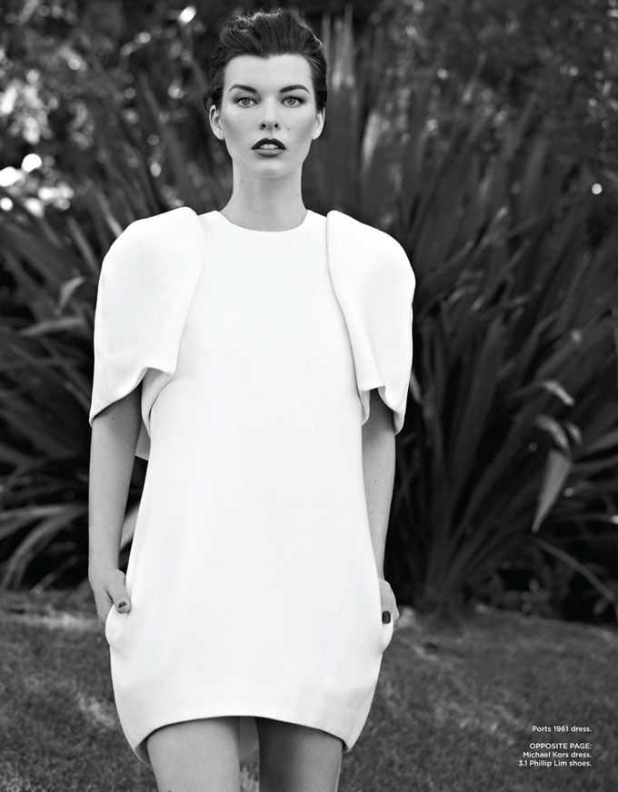 Milla Jovovich Evokes Maximum Grace for Flare October 2012 by Max Abadian