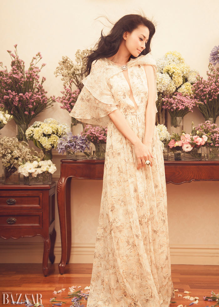 Ngo Thanh Van Covers the One Year Anniversary Issue of Harper's Bazaar Vietnam In Floral Style