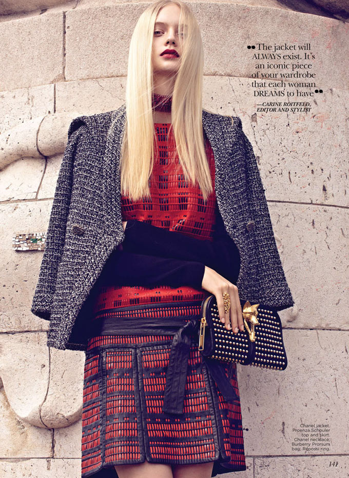 Nastya Kusakina Dons the Chanel Jacket for Flare October 2012 by Max Abadian