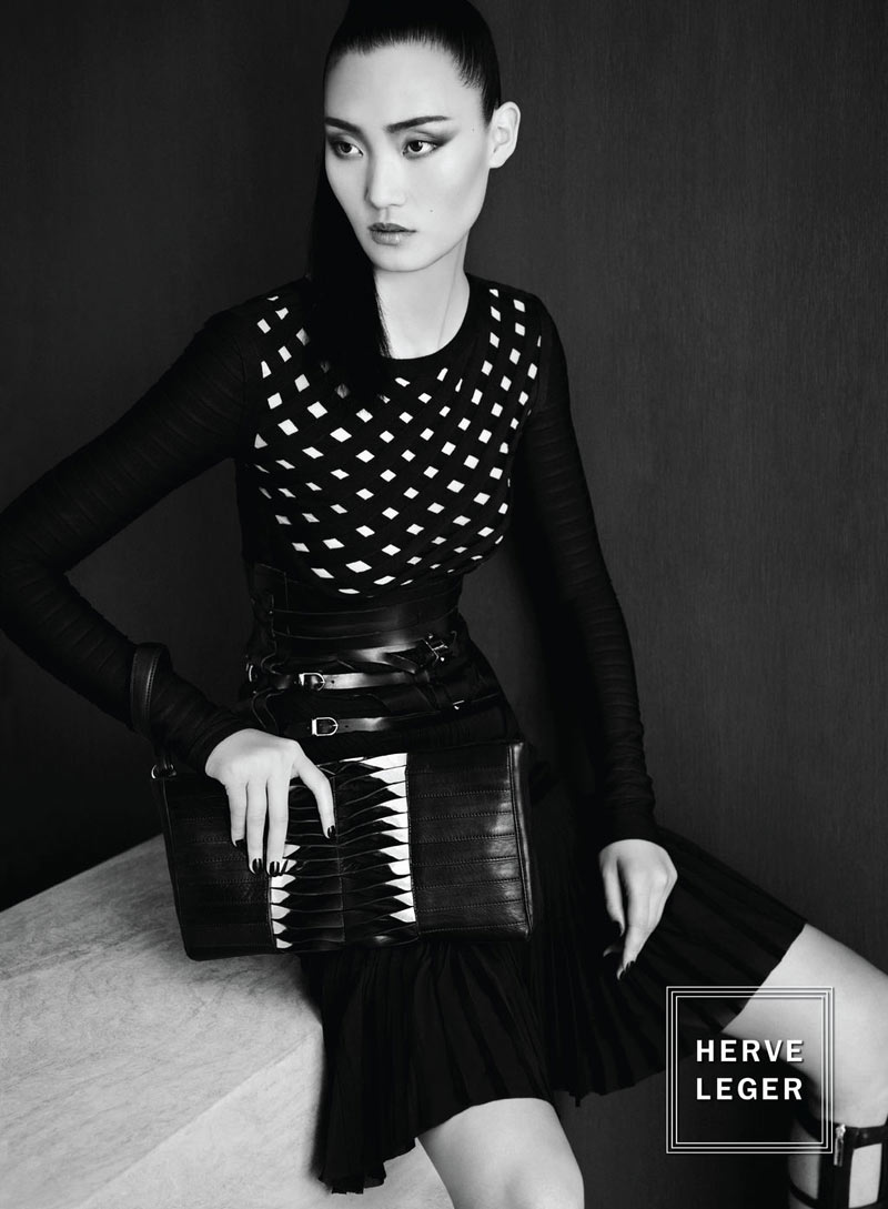 Lina Zhang Fronts Herve Leger by Max Azria's Fall 2012 Campaign