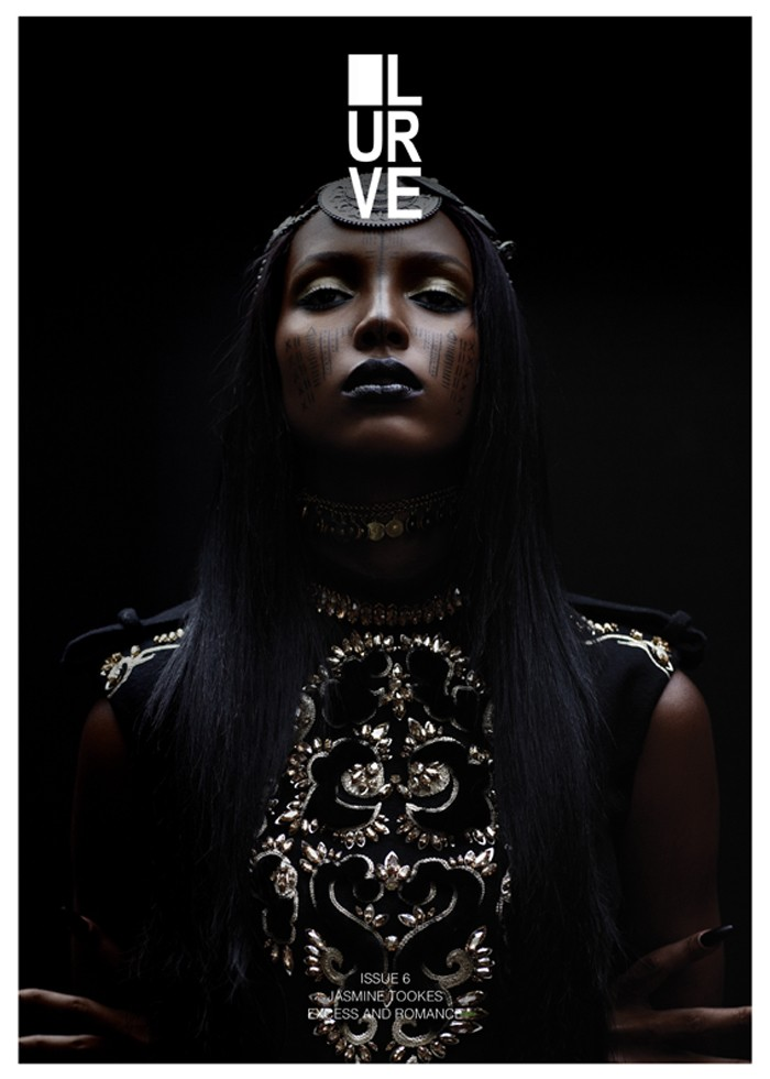 Jasmine Tookes Wears Dark Fall Fashions for the Cover Shoot of Lurve #6