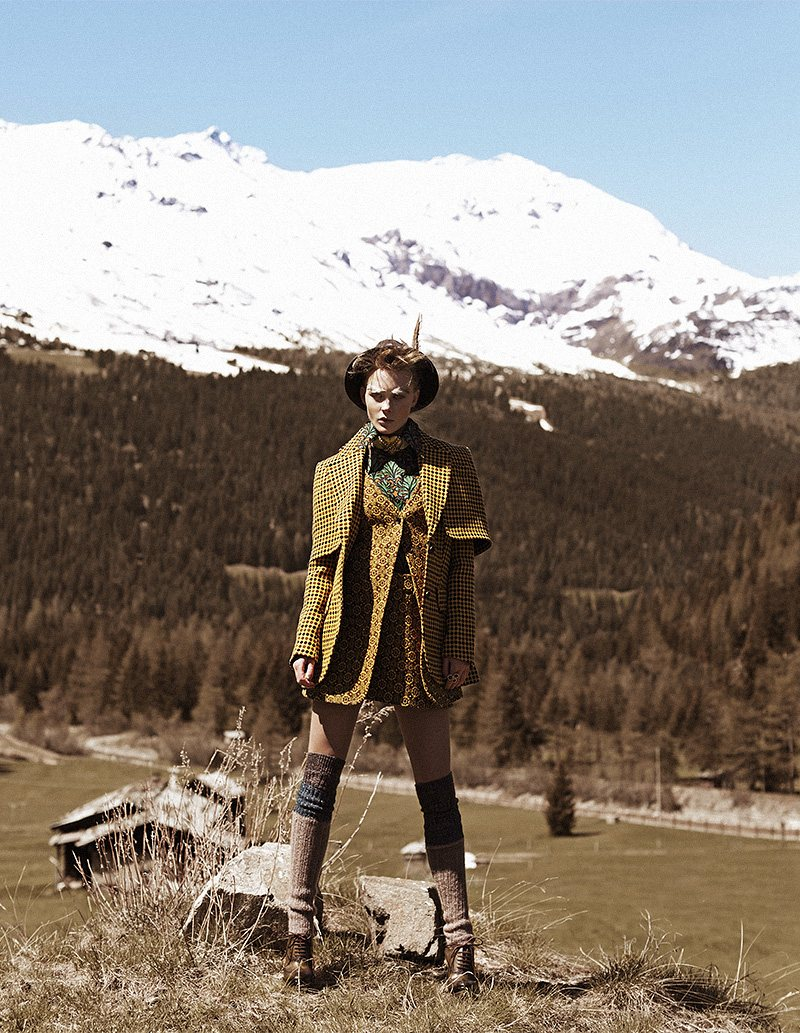 Riley Hillyer is a Mountain Beauty for the Lens of Zoltan Tombor in Grazia Italy September 2012