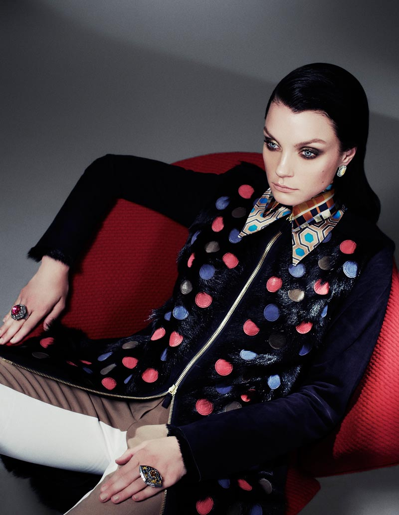 Jessica Stam Dons Luxe Fall Looks for Interview Russia October 2012