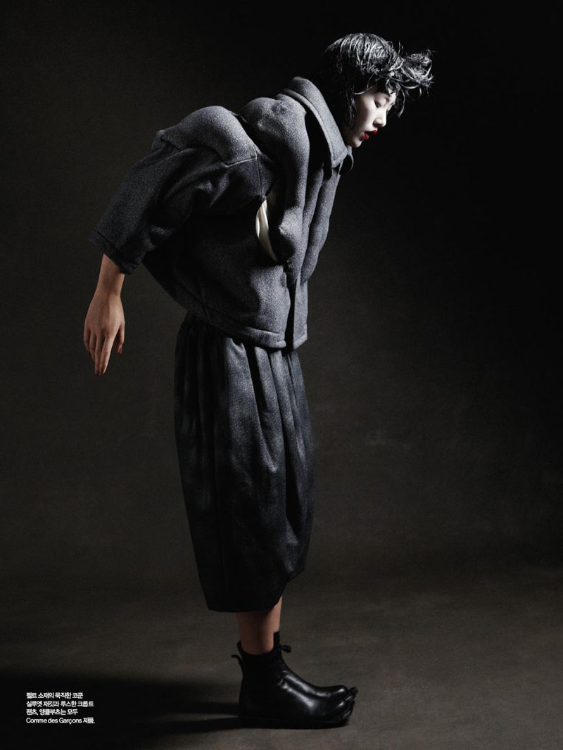 Liu Wen by Yelena Yemchuk in Comme des Garçons | Harper's Bazaar Korea October 2010