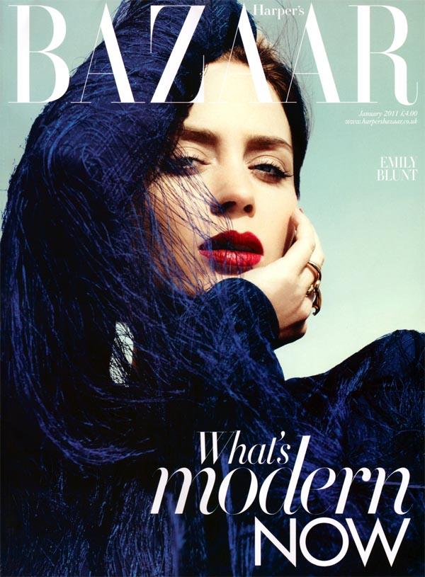 Harper's Bazaar UK January 2011 Cover | Emily Blunt by Paola Kudacki