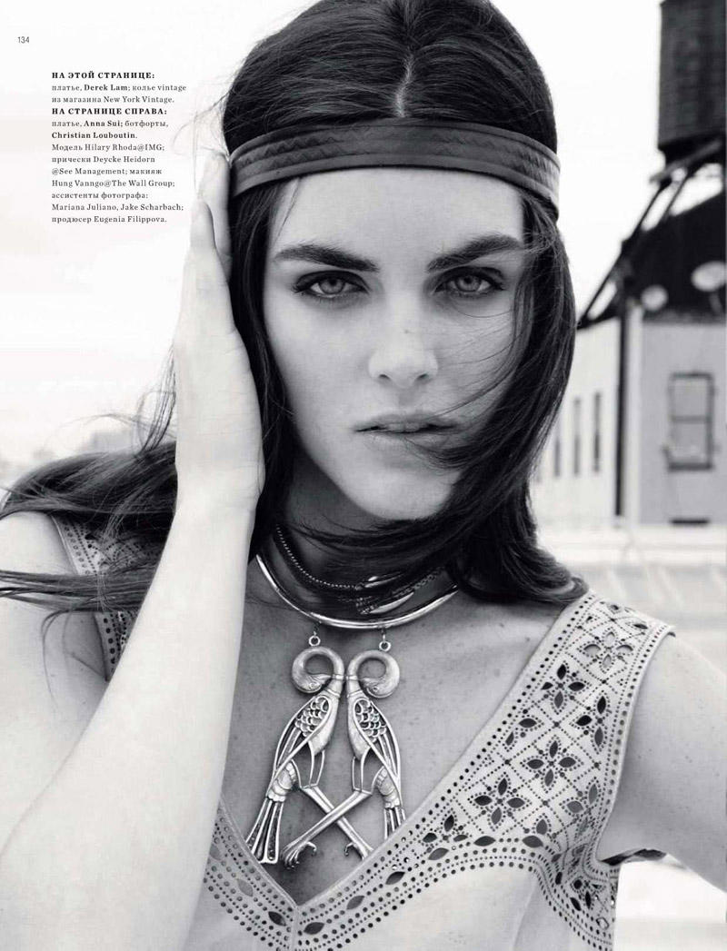 Hilary Rhoda for Harper's Bazaar Russia January 2011 by Alan Gelati