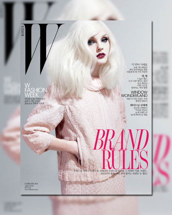 W Korea February 2011 Cover | Jessica Stam by Catherine Servel