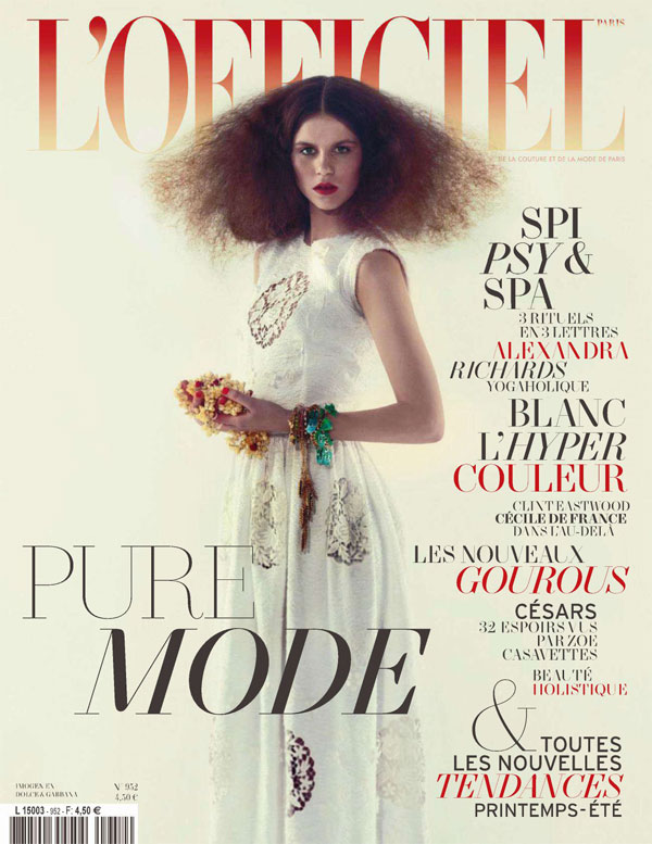 L'Officiel February 2011 Cover | Imogen Newton by Mason Poole