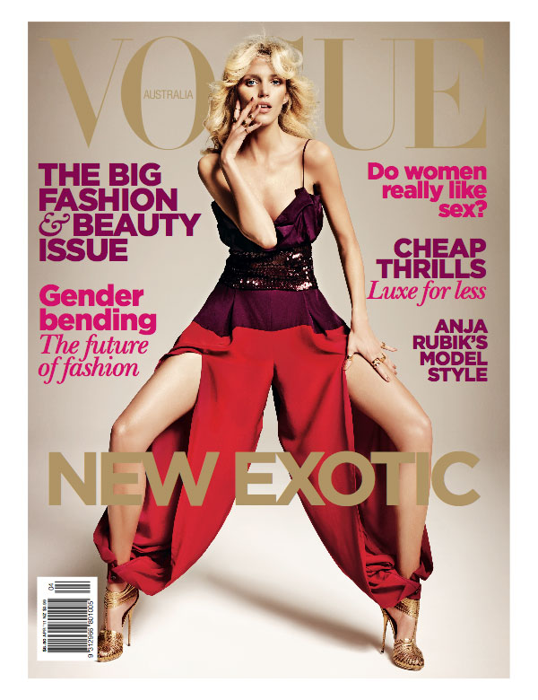 Vogue Australia April 2011 Cover | Anja Rubik by Marcin Tyszka