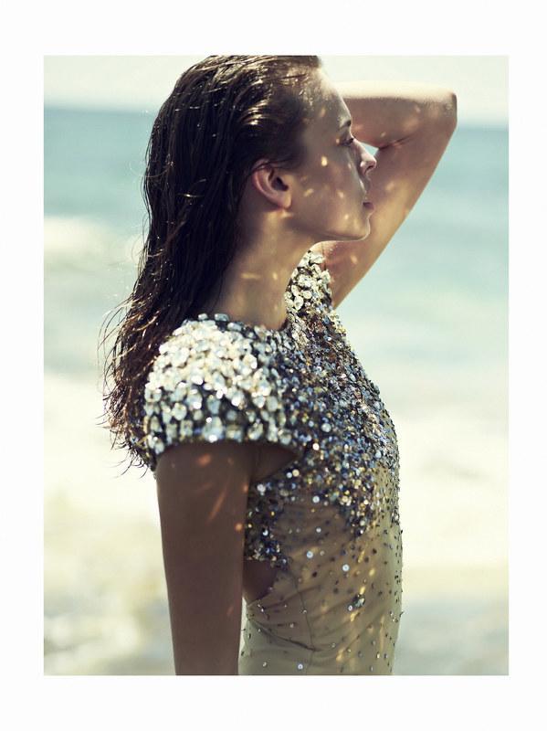 Magdalena Glonek Soaks Up Ocean Waves in Elle Greece July 2012 by Dimitris Skoulos