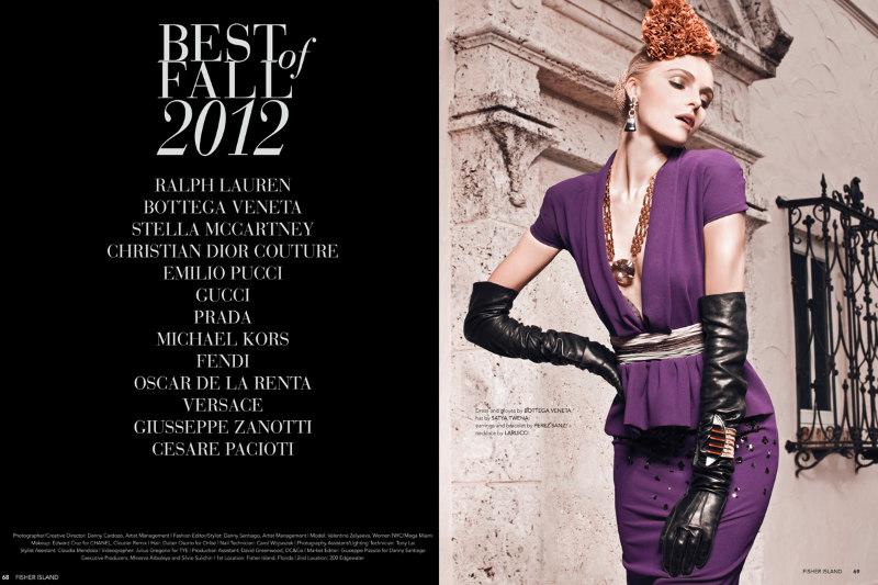 Danny Cardozo Lenses Valentina Zelyaeva in Elite Style for Fisher Island Magazine Fall 2012