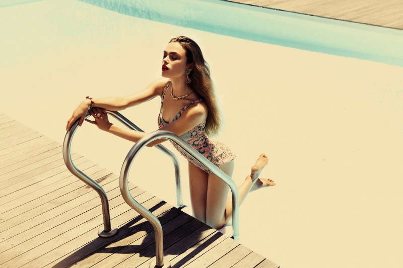 Sophie Vlaming Models Retro Swimwear for Grazia Paris August 2012 by Richard Bernardin