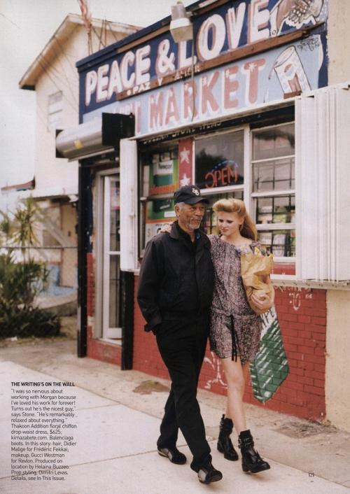 Morgan Freeman & Lara Stone in Vogue US