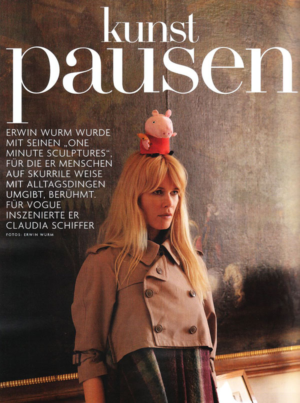 Claudia Schiffer by Erwin Wurm for Vogue Germany November
