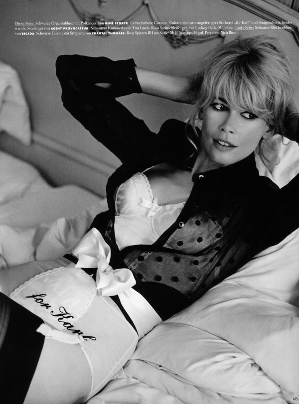 Karl Lagerfeld Shoots Claudia Schiffer for Vogue Germany October