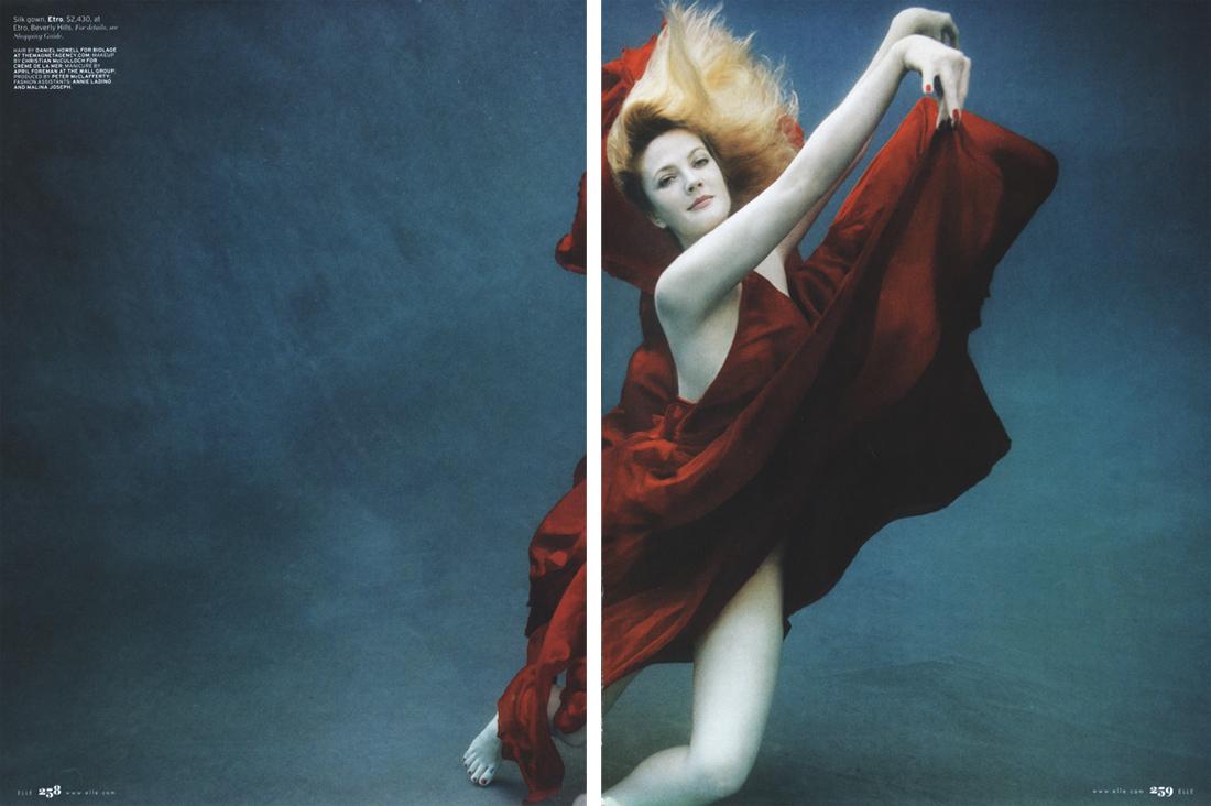 Drew Barrymore is a Underwater Goddess in Elle