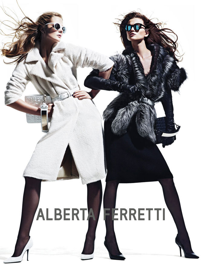 Eniko Mihalik & Kasia Struss Get Vamp for Alberta Ferretti's Fall 2012 Campaign by Mario Sorrenti