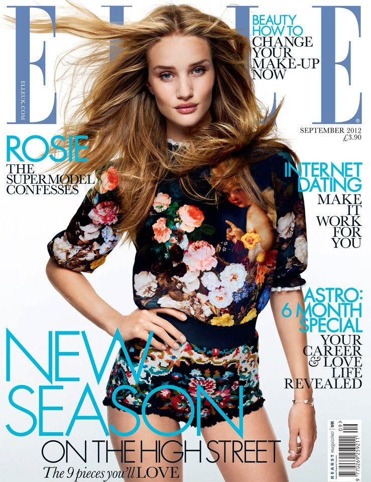 Rosie Huntington-Whiteley Dons Dolce & Gabbana for Elle UK's September 2012 Cover