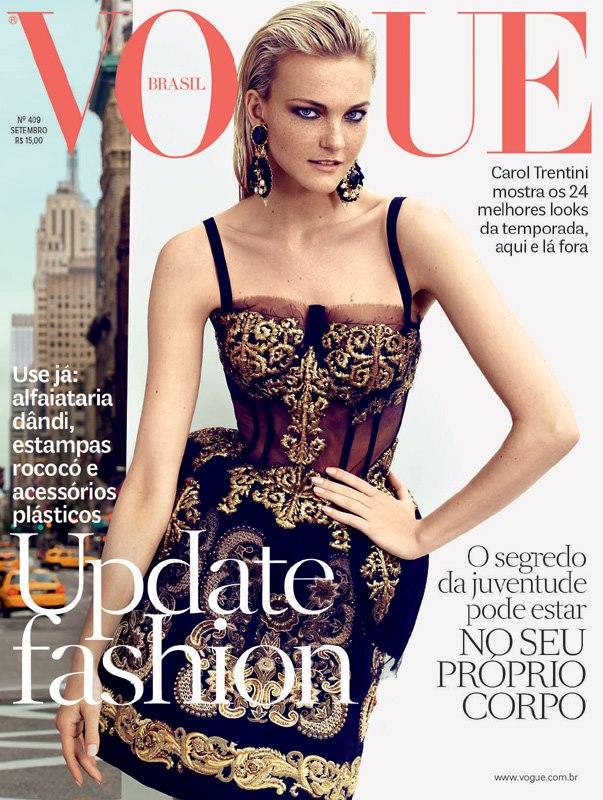 Caroline Trentini Dons Dolce & Gabbana for Vogue Brazil's September 2012 Cover, Lensed by Husband Fabio Bartlet