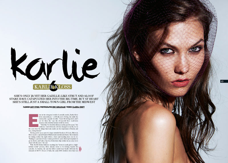 Karlie Kloss Stars in The Sunday Times Style September 2012 by Eric Guillemain