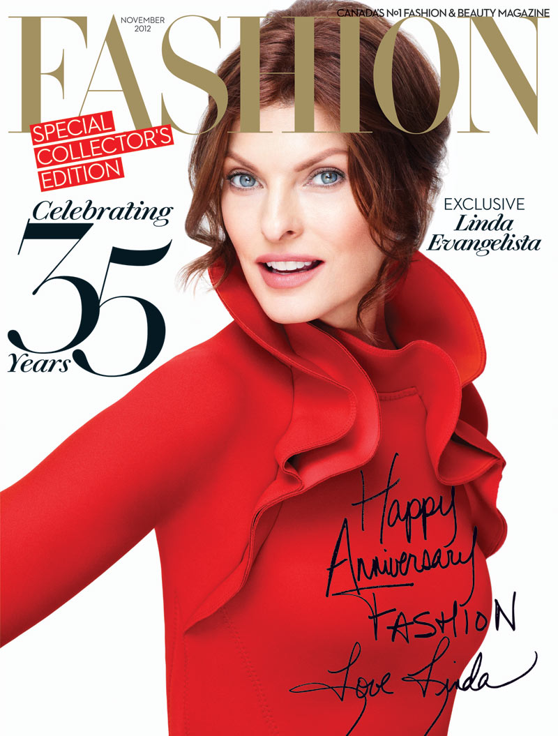 Linda Evangelista Covers the 35th Anniversary Issue of Fashion Magazine in Lanvin