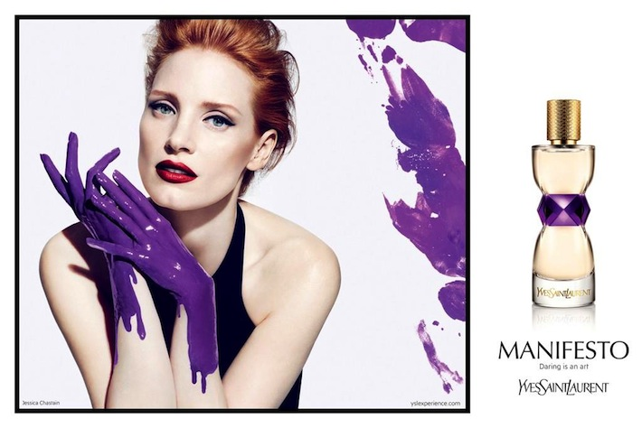 A Painted Jessica Chastain Stars in the YSL Manifesto Fragrance Campaign by Mert & Marcus