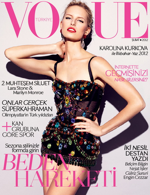 Vogue Turkey February 2012 Cover | Karolina Kurkova by Alexei Hay