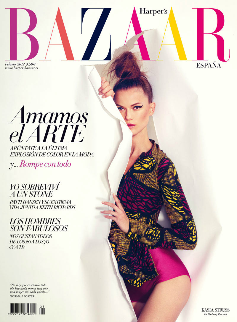 Harper's Bazaar Spain February 2012 Cover | Kasia Struss by Nico