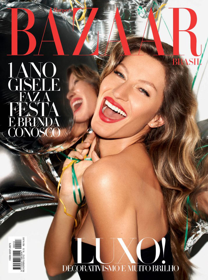 Gisele Bundchen is All Smiles on the November 2012 Cover of Harper's Bazaar Brazil