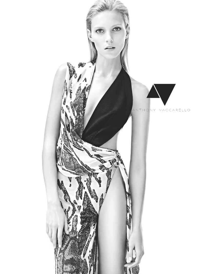 Anja Rubik in Anthony Vaccarello by Karim Sadli for The Last Magazine