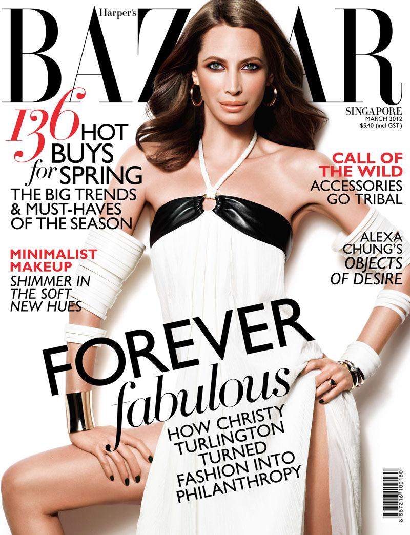 Harper's Bazaar Singapore March 2012 Cover   Christy Turlington by Simon Upton