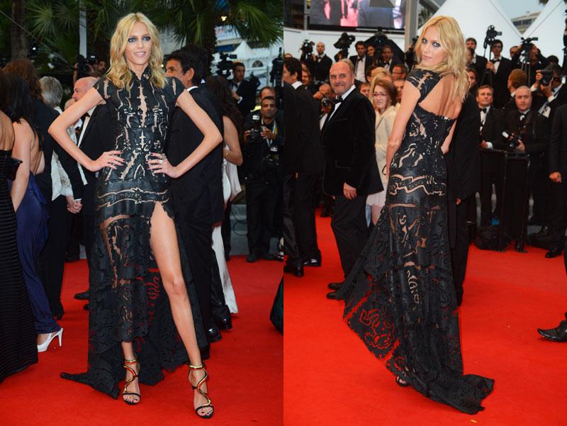 Anja Rubik Gets Leggy in Roberto Cavalli at Cannes