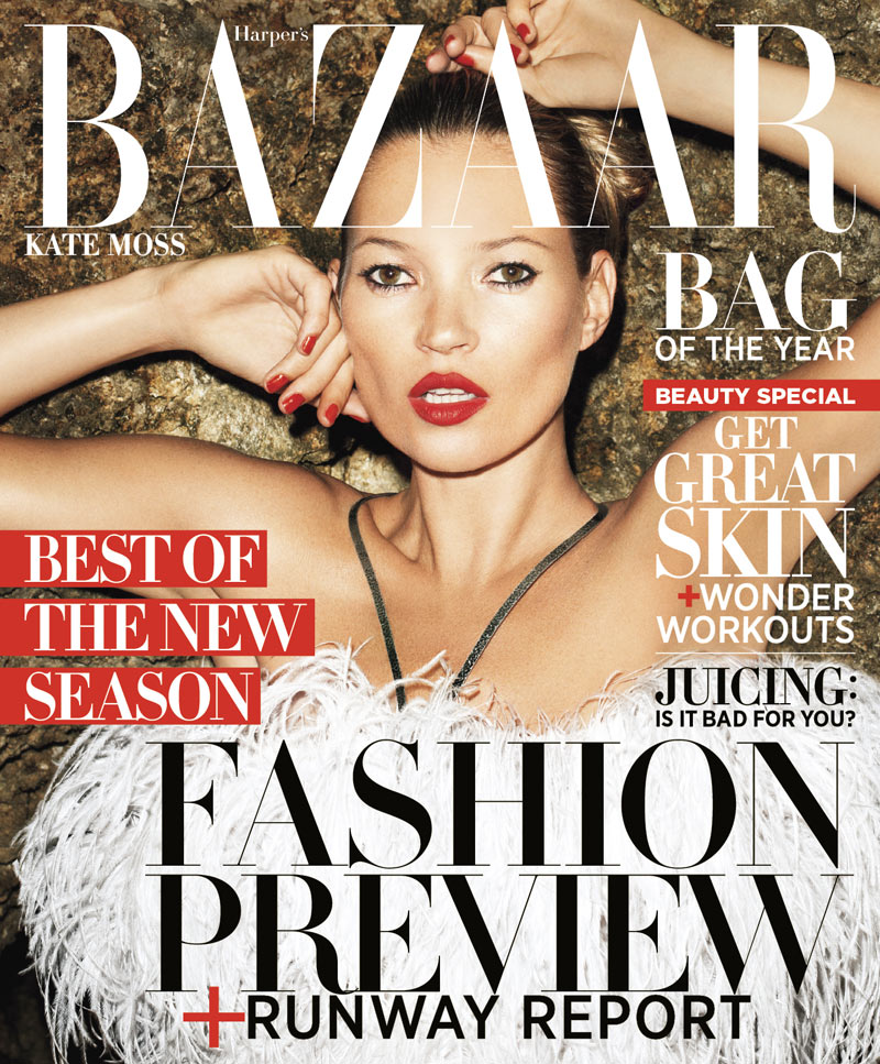 Kate Moss Covers Harper's Bazaar US June/July 2012 in Alexander McQueen