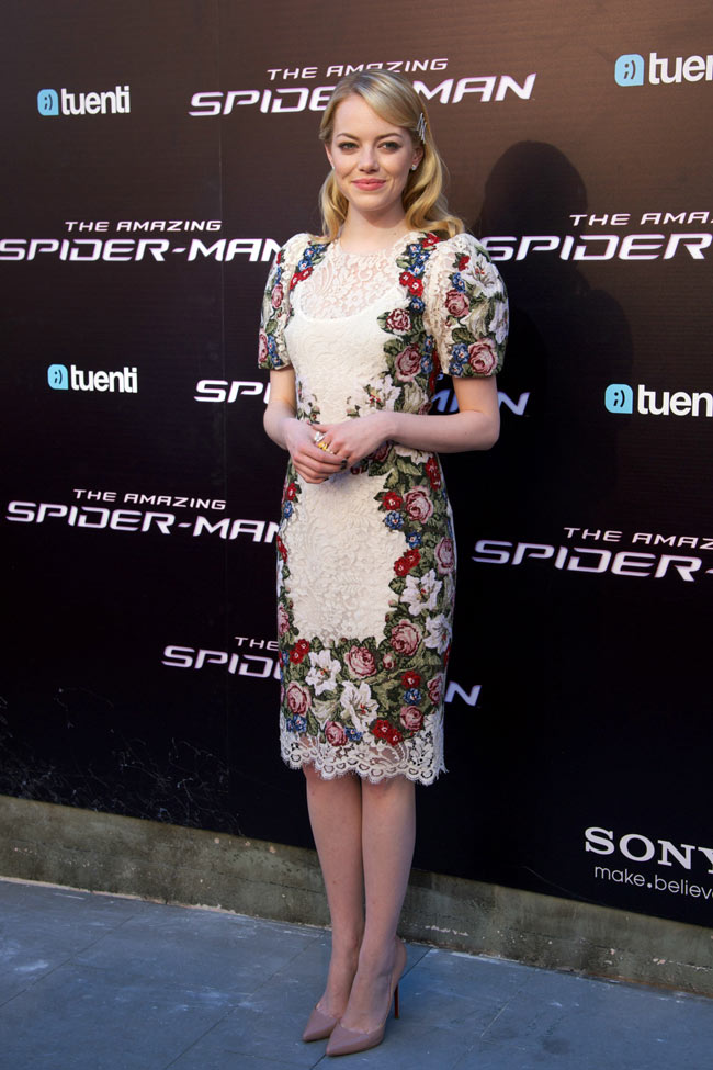 Emma Stone Dons Dolce & Gabbana Lace at 'The Amazing Spider-Man' Madrid Premiere