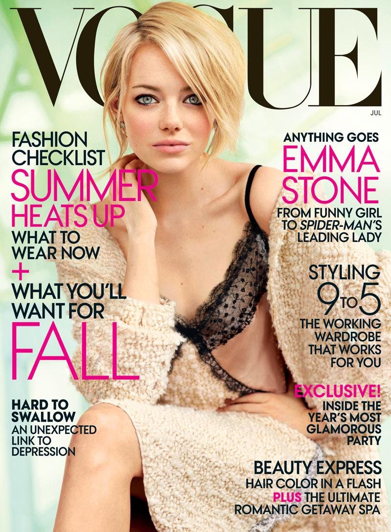 Emma Stone Covers Vogue US July 2012 in Nina Ricci