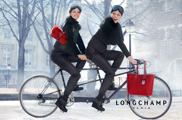 Coco Rocha & Emily DiDonato Are Biking Buddies for Longchamp's Fall 2012 Campaign by Max Vadukul