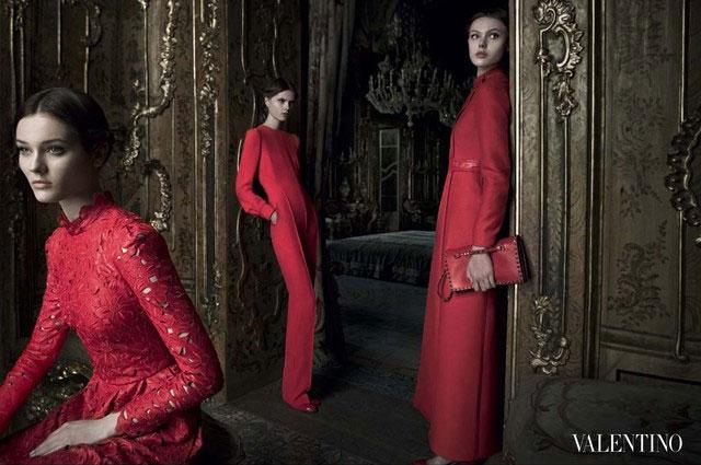 Frida Gustavsson, Jac Jagaciak & Caroline Brasch Nielsen Wear Red in Valentino's Fall 2012 Campaign by Deborah Turbeville