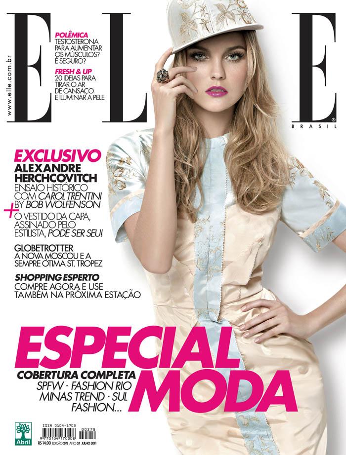 Elle Brazil July 2011 Cover | Caroline Trentini by Bob Wolfenson