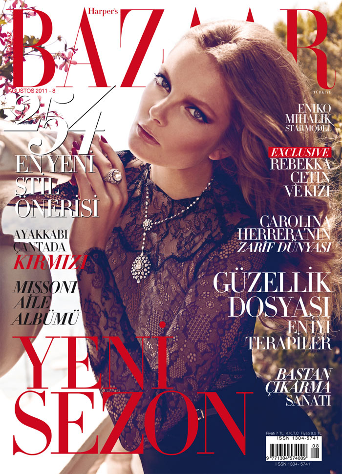 Harper's Bazaar Turkey August 2011 Cover | Eniko Mihalik by Koray Birand