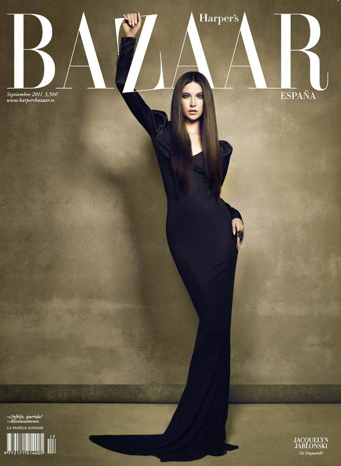 Jacquelyn Jabonski channeled Morticia Addams for the October issue of Harper's Bazaar Spain