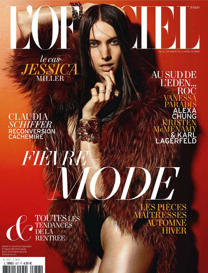 L'Officiel August 2011 Cover |  Jessica Miller by Satoshi Saikuska